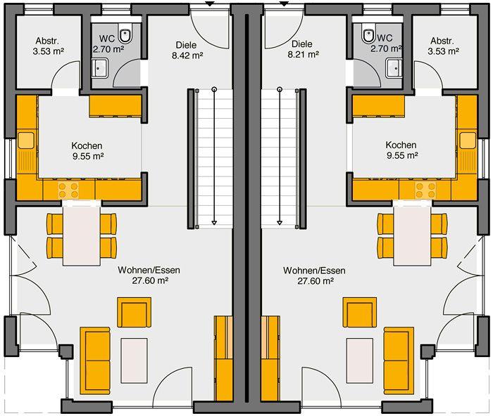 Fertighaus Doppelhaus Gemello PD 212 Grundriss EG