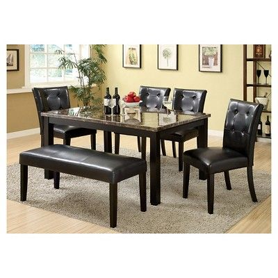 IoHomes 6pc Faux Marble Dining Table Set Wood/Black Part 90