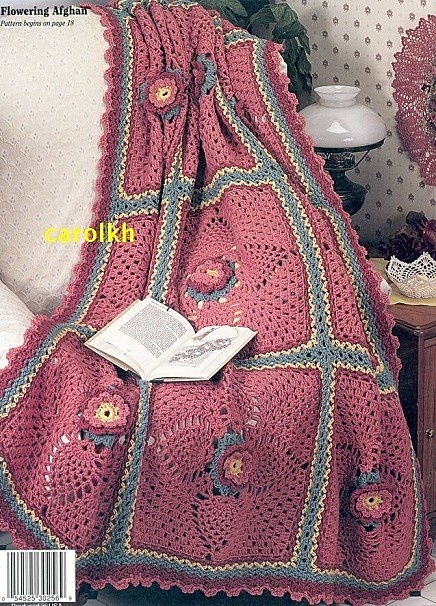 Knitting Granny Squares For Beginners : Large flower square afghan free crochet graph pattern