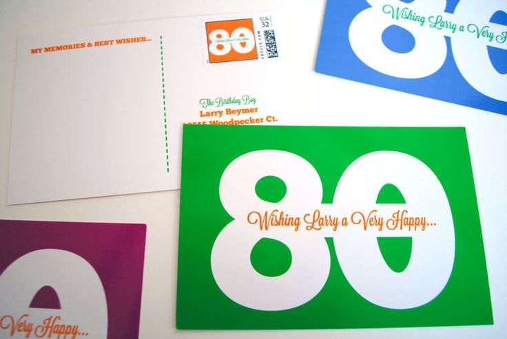 Milestone birthday idea: Printable birthday postcards for 80th 70th 75th 65th 60th 50th. Have friends and family write memories and best wishes and mail. It's the best milestone birthday gift!