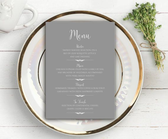 """Decorate your wedding tables and place settings with these stylish Menu Cards from our classical Kings Road collection of elegant and versatile wedding stationery and invitations.  As with all of our printed collections, Kings Road is professionally designed and, when proofing is complete, professionally printed on high-quality 350gsm silk white cardstock with a low sheen and luxurious feel and an excellent contrast where printed colours are vibrant and defined.  The Menu Card is 5"""" x 7"""" in…"""