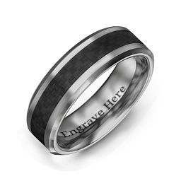 Men's Black Carbon Fiber Inlay Polished Tungsten Promise Ring
