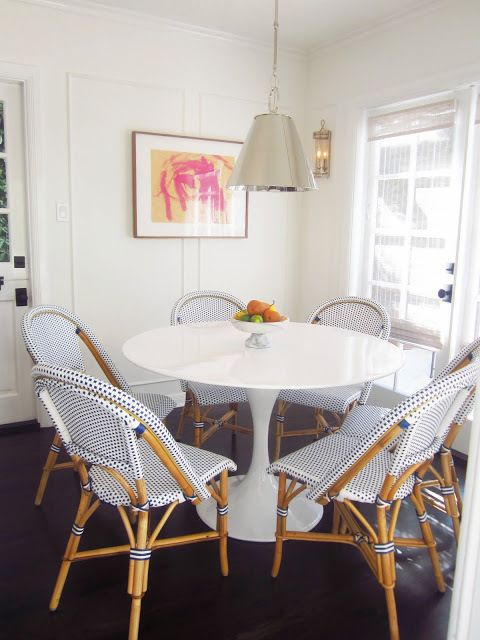 summerfield-- debating on painting kitchen table white or navy. colorful modern artwork on wall.