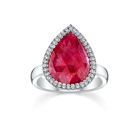 Eighteen karat white gold RING with rose cut pear shape ruby and diamond micro pavé. (style no 6322) - $5,800