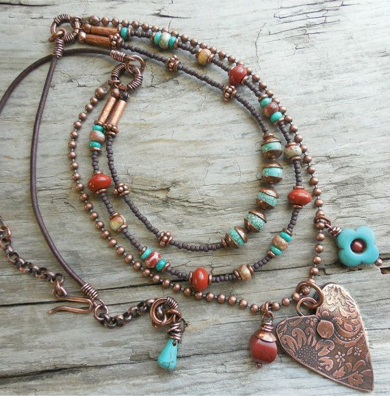 Heart Necklace Southwest Copper Damask Charm by lunedesigns