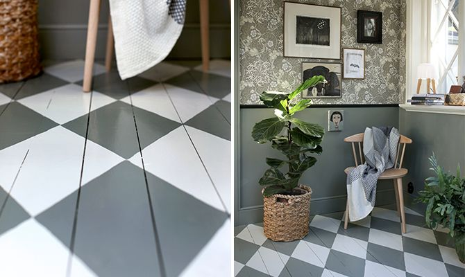 Beautiful checkered floor that you can paint yourself, start with a light base color, such as Alcro Porslin, with the darker on top, in this case Alcro Grön Granit. The same hue is used on the panel on the wall, whilst the wood strip is painted with Alcro City duck.