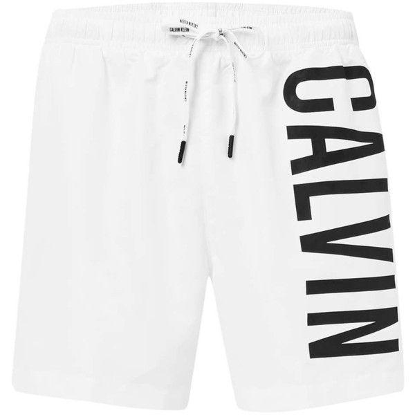 TOPMAN Calvin Klein White Logo Swim Shorts ($72) ❤ liked on Polyvore featuring men's fashion, men's clothing, men's swimwear and white
