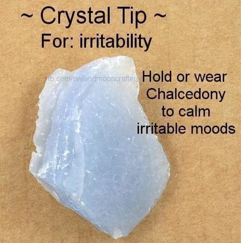 irritability. Chalcedony Healing Crystal @Megan Ward Ward Ellis i think you could use this :p hahahahaha jkjkjkjkjkjk
