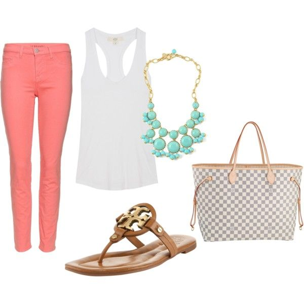 Summer: Coral Jeans, Coral Pants, Cute Summer Outfit, Spring Summ, Styles, Color Jeans, Color Pants, Coral Turquoise, Perfect Summer