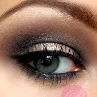 A simple, well blended eye makeup of shimmery beige, brown, and grey makes this look perfect for prom or formal events. See the products you need to DIY this look here.
