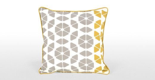 Small Trio Cushion 45 x45cm, Grey and Mustard | made.com