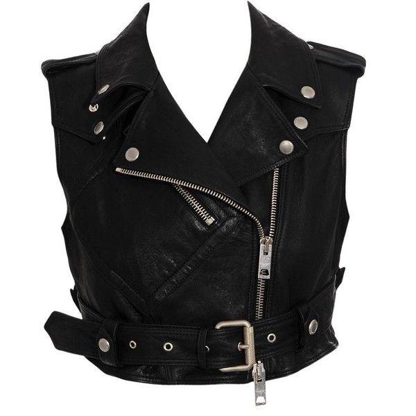 Burberry Prorsum Leather Biker Vest (£600) ❤ liked on Polyvore featuring outerwear, vests, jackets, tops, women, fitted vest, genuine leather vest, burberry vest, vest waistcoat and biker vest