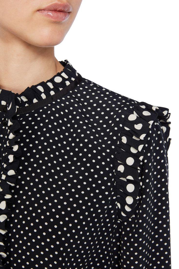 noppen blouse met ruffles