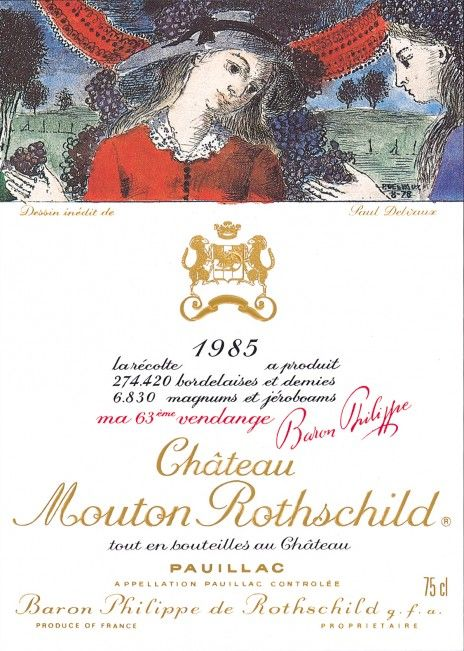 Paul Delvaux - Etiquette Mouton Rothschild 1985