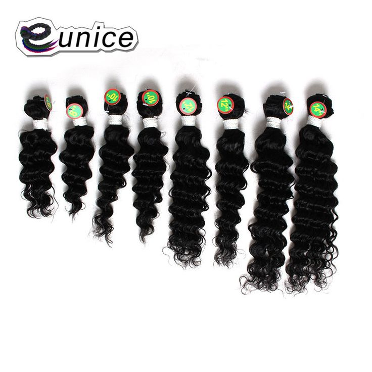 """8piece/pack 8""""10""""12""""14""""Natural Black Synthetic Hair Extension Kinky Curly Weave Hair Bundles With Double Weft Eunice Hair"""