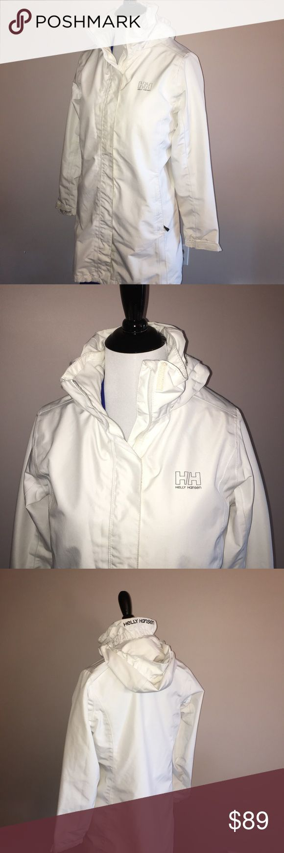 Gorgeous white Helly Hansen rain/windbreaker Gorgeous and unique white Helly Hansen rain/windbreaker. Long and comfortable in excellent condition! Helly Hansen Jackets & Coats Utility Jackets
