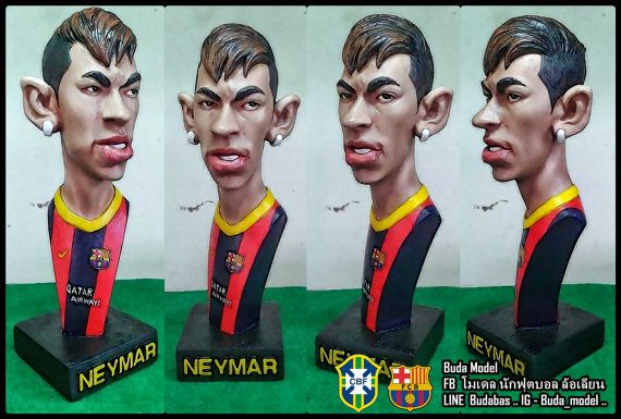 Neymar..resin.Bust Statue Caricature by BUDAMODEL on Etsy