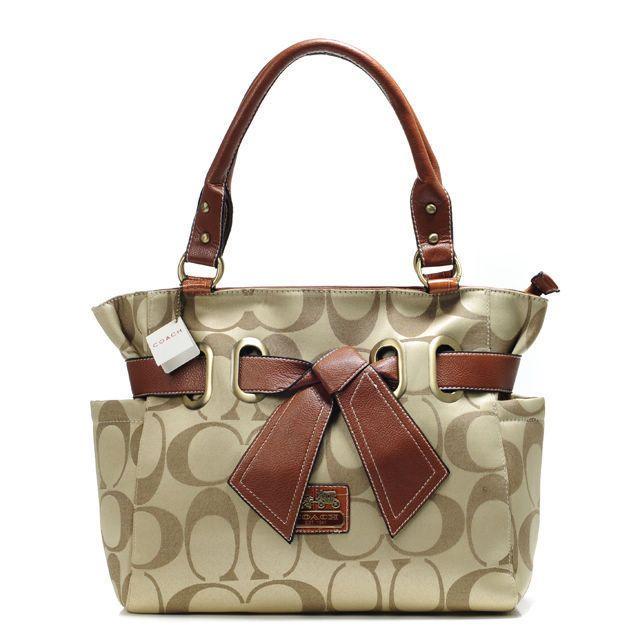 #Coach Outlet Store#Coach Poppy Bowknot Signature Medium Khaki Totes AMZ$61.99 .CLICK IT!!