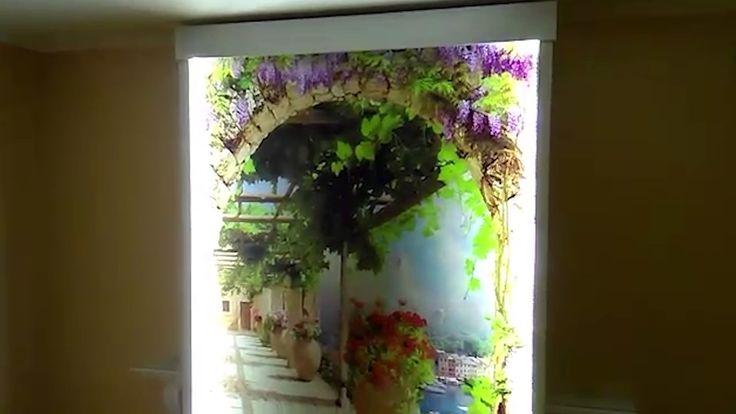 Сюжетный водопад по стеклу