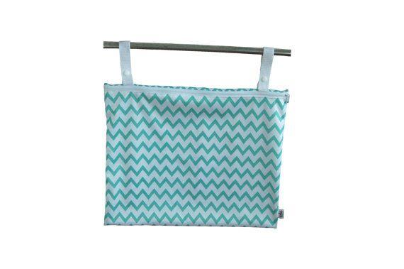 READY to Ship - Aqua Chevron Kitchen Wetbag for dirty kitchen linens, unpaper towels, bibs, facecloths. 100% PUL