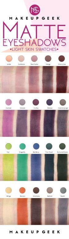 20 New & Reformulated Makeup Geek Matte Eyeshadows—Light Skin Swatches