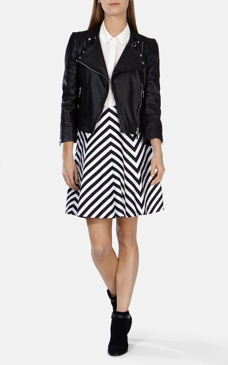 Zig zag panneled black and white skirt | Luxury Women's stripes | Karen Millen