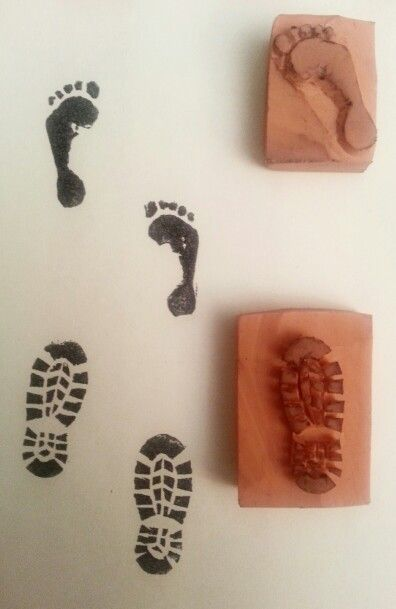 Rubber stamp footprints diy