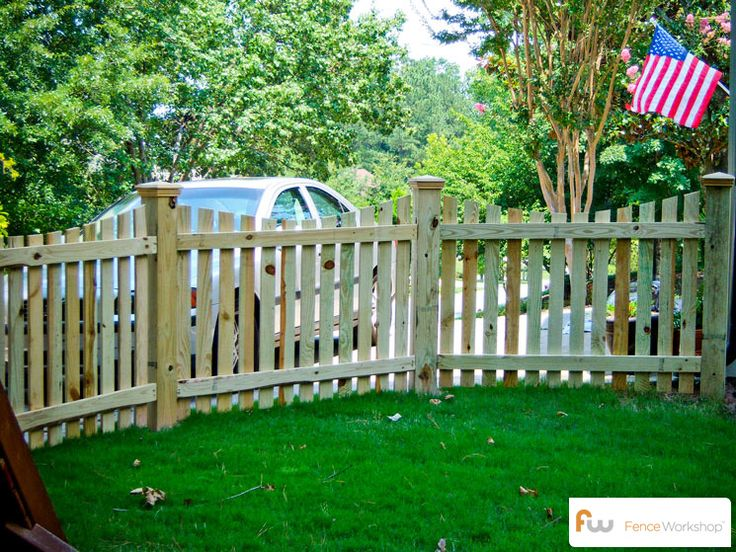 The Harris ™ Scalloped Wood Picket Fence   Pictures & Per Foot Pricing