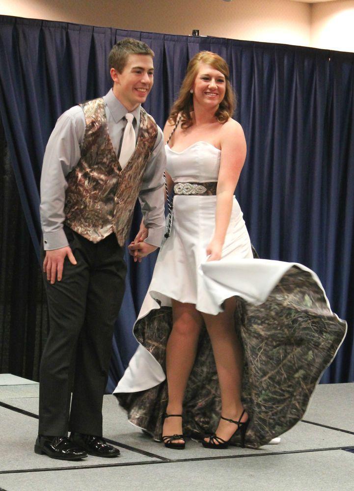 Elegant  uSherry Jo u Custom Made CAMO Wedding Hi Lo Dress With Train