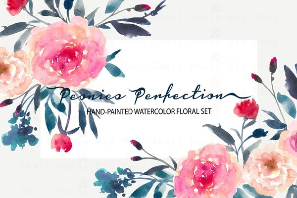Peonies Perfection-Watercolor Clip A by SmallHouseBigPony on Creative Market