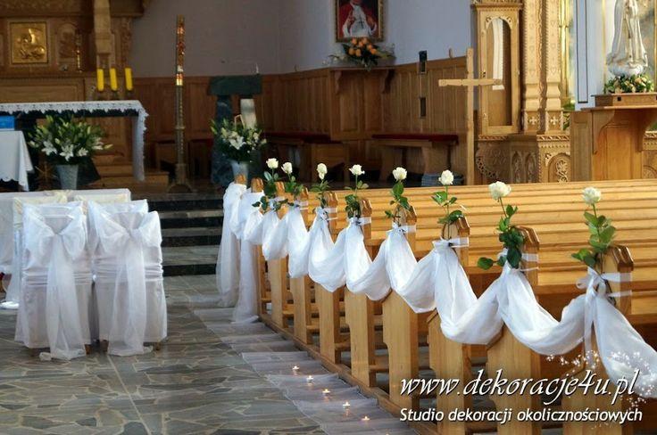 Dekoracja kościoła z białą różyczką - www.dekoracje4u.pl