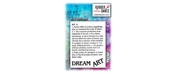 Art Defined. UN-mounted, red rubber stamps. Size of art definition is about 6 x 5 cm. ART is 3,5 cm long; DREAM is 4, 5 cm long.