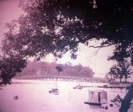 Bridge to Manitou Island from north, White Bear Lake, Minnesota :: White Bear Lake Area Historical Society