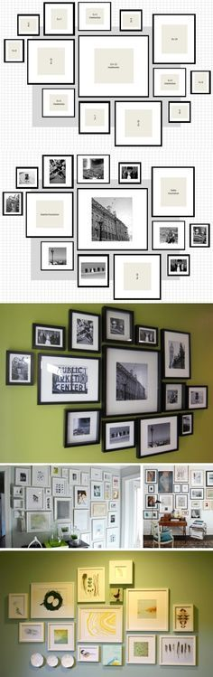 How To: IKEA Ribba Frame Gallery Wall : 1p – 12″ x 12″ shadowbox // 3p – 5″ x 5″ shadowboxes // 3p – 8″ x 10″ frames // 3p – 5″ x 7″ frames // 5p – 4″ x 6″ frames {one more than I planned to use, just in case…} All of the frames totaled about $110.