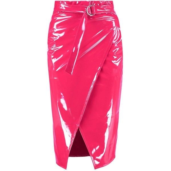 Paige Vinyl Wrap Belted Midaxi Skirt (91 PEN) ❤ liked on Polyvore featuring skirts, pink vinyl skirt, vinyl skirt, pink skirt, belted skirt and wrap skirts
