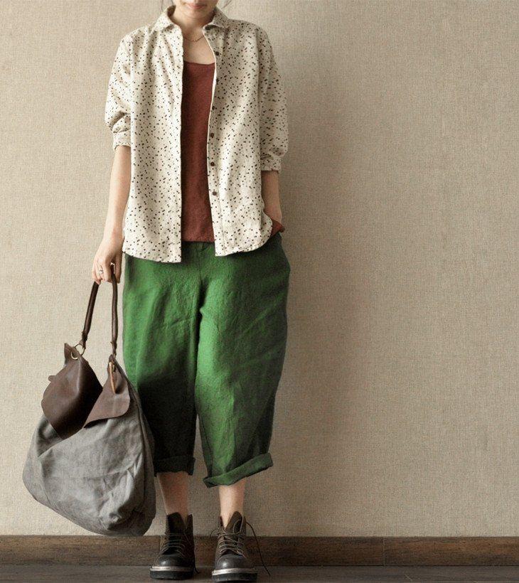 Lovely Dot Cotton Shirt Women Tops Fashion Clothes LR003