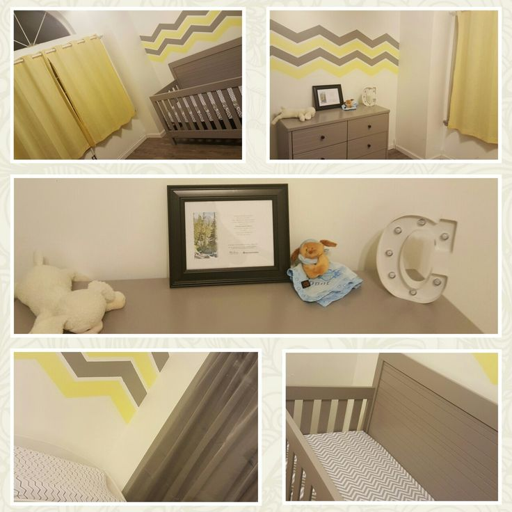Conor's Nursery finished. Yellow Gray White Chevron Gender neutral baby nursery