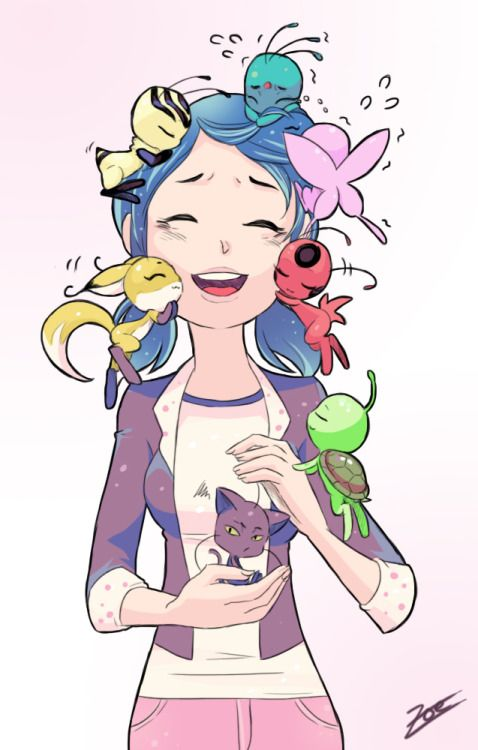 "zoe-oneesama: "" It's hard being so popular, isn't it, sugar? Marinette and the Seven Gods by @imthepunchlord """
