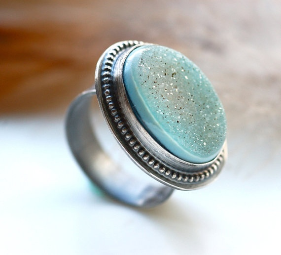 Handcrafted Agate Drusy Ring in Sterling Silver Mint by EONDesign, $119.00
