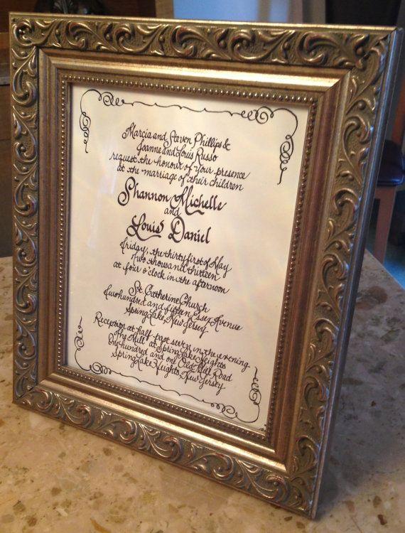 Wedding Gift Keepsakes : Calligraphy Wedding Invitation KeepsakeThe Perfect Wedding Gift on ...