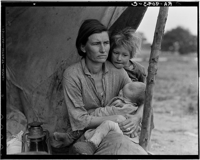 Dorothea LANGE :: Migrant Mother, 1936 / Florence Owens Thompson (September 1, 1903 – September 16, 1983), born Florence Leona Christie, was the subject of Dorothea Langes photo Migrant Mother.  The image of a worn, weather-beaten woman, a look of desperation on her face, two children leaning on her shoulders, an infant in her lap; has become a photographic icon of the Great Depression in America.