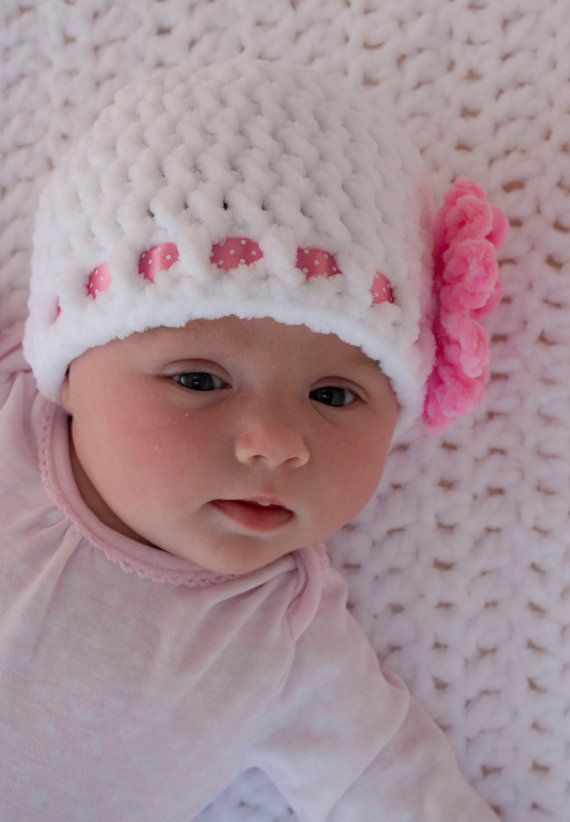 BABY GIRL BEANIE white baby hat crocheted by by KerryJayneDesigns