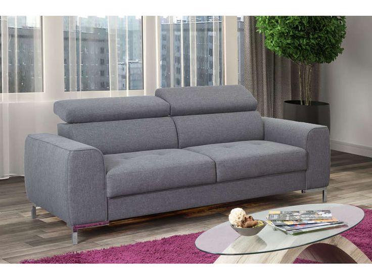 Ensemble canapé fixe 3 places + canapé fixe 2 places MEGG pas cher coloris anthracite prix Soldes Conforama 599.50 € TTC au lieu de 990.50 €