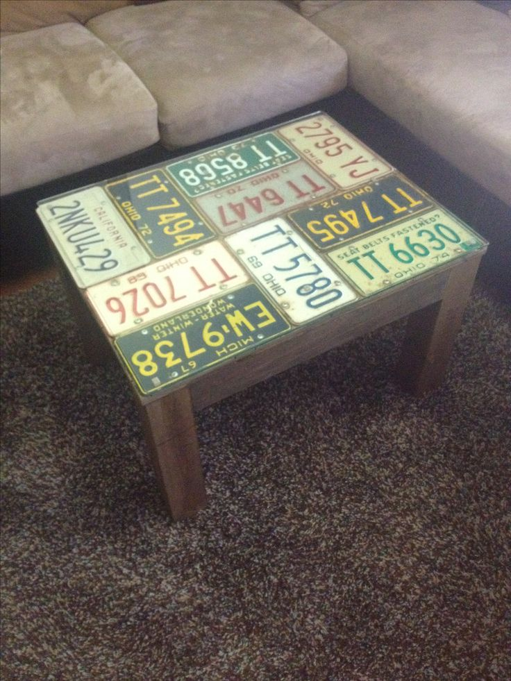 Diy license plate coffee table plates on plywood 3x3 for Coffee table craft ideas