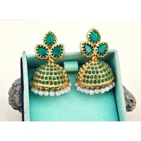 Leaf Green Kemp Jhumka Earrings