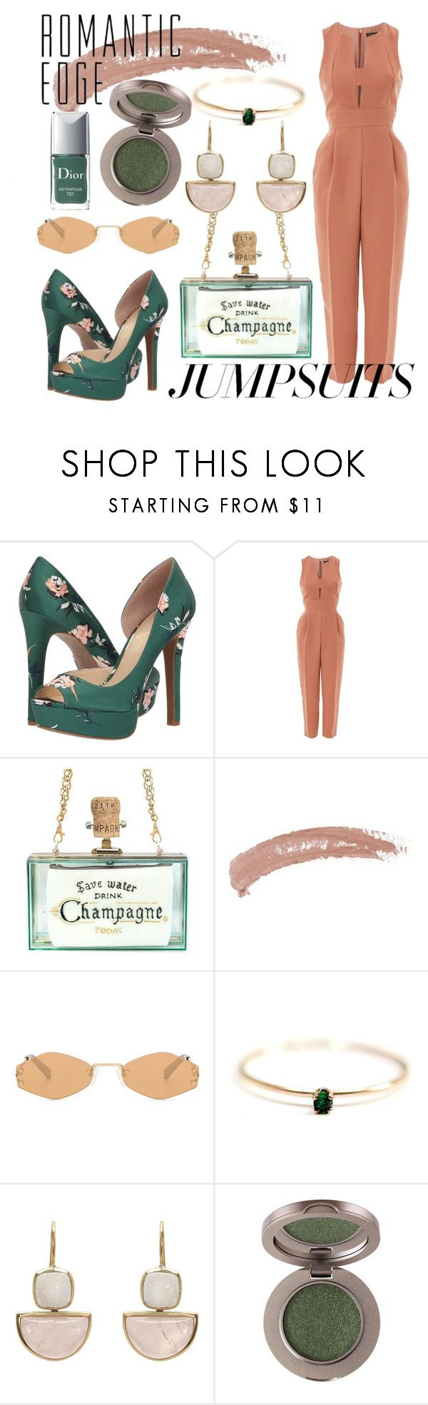 """""""beige & green"""" by lindzeyers ❤ liked on Polyvore featuring Jessica Simpson, Topshop, Kendall + Kylie, John Lewis, Christian Dior and jumpsuits"""