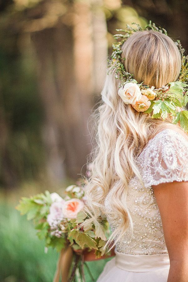 Beaded Wedding Dress with Lace Cap Sleeves | Megan Robinson Photography and Leslie Dawn Events | Blush and Rose Gold Woodland Wedding Shoot