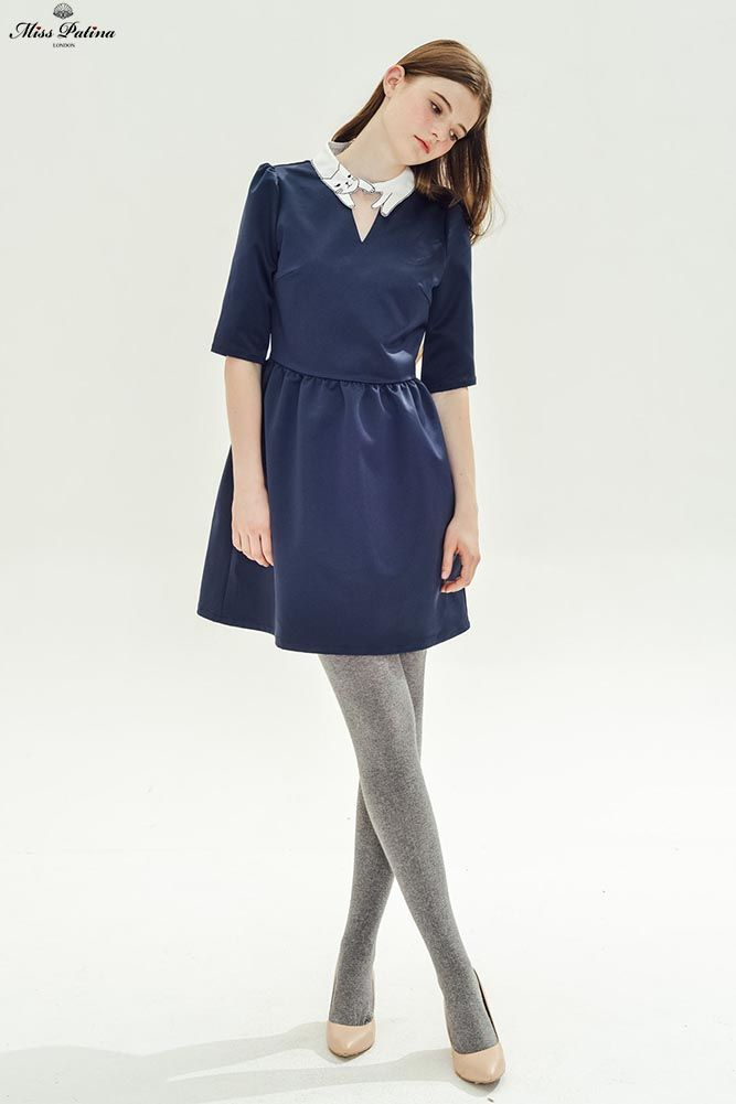 Love Cat Dress (Navy) - Miss Patina - Vintage Inspired Fashion