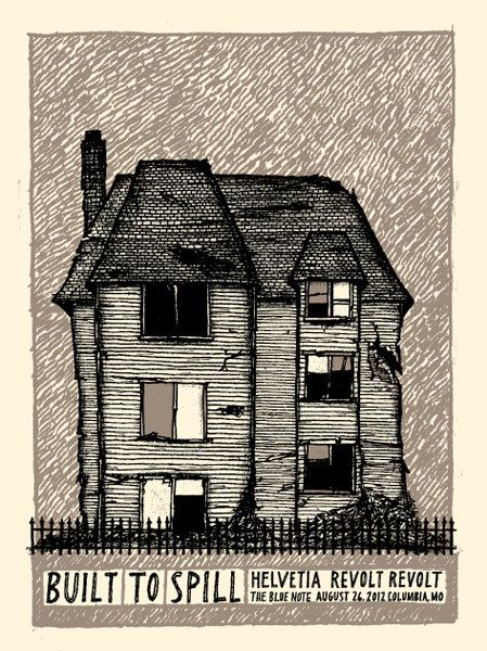 Built To Spill and Helvetia screen printed concert poster for Columbia, MO 2012