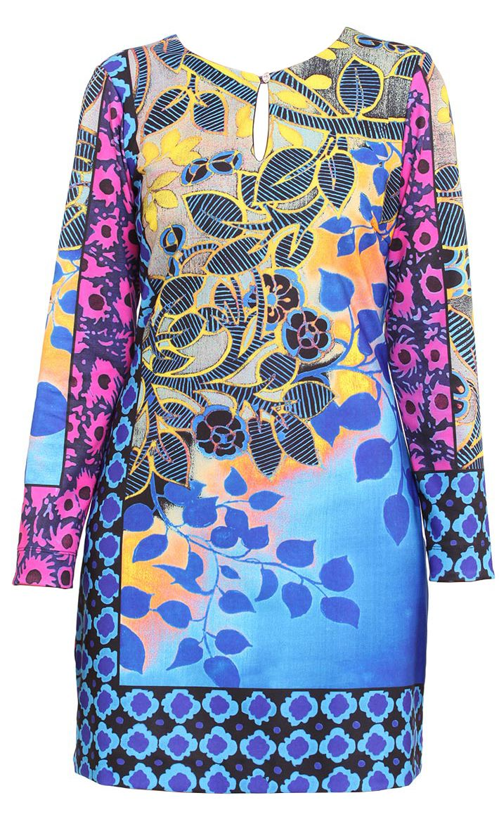 Multi-color print jersey dress, long sleeves, round neck with keyhole and jewel button. #multicolor #casualdress #printdress